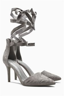 Grey Leather Embroidered Court Shoes