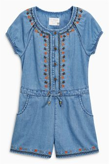 Blue Tencel® Embroidered Playsuit (3-16yrs)
