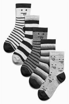 Monochrome Faces Socks Five Pack (Older Boys)