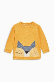 Ochre Cat Print Crew Neck (3mths-6yrs)
