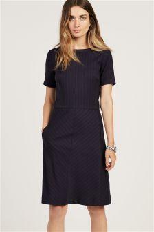 Navy Flannel Stripe Dress