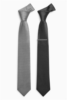 Black/Grey Ties Two Pack With Tie Clip
