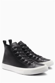 Black Leather High Top Trainers