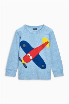 Blue Long Sleeve Aeroplane Top (3mths-6yrs)