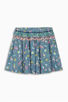 Khaki Shirred Print Skirt (3mths-6yrs)