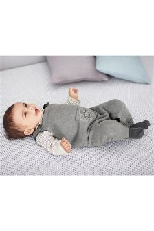 Grey Knitted Star Dungarees (0mths-2yrs)