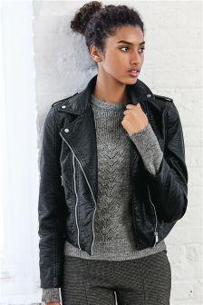 Black Textured PU Biker Jacket