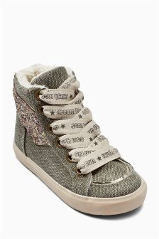 Khaki Winged High Tops (Younger Girls)