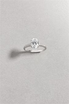 Sterling Silver Crystal Effect Solitaire Ring