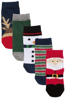Multi Christmas Socks Five Pack (Younger Boys)