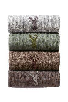 Brown Heritage Socks Four Pack