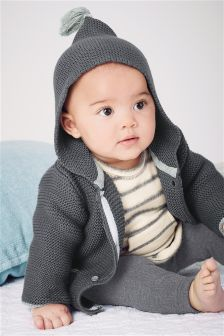 Grey Hooded Cardigan (0mths-2yrs)