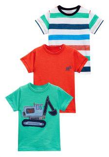 Green/Stripe Digger T-Shirts Three Pack (3mths-6yrs)