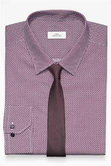 White/Burgundy Print Regular Fit Shirt And Tie Set