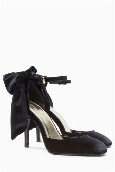 Black Bow Back Two Part Shoes