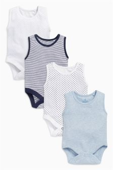 Blue Vests Four Pack (0mths-3yrs)