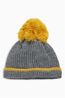 Grey Marl Pom Pom Hat (0mths-2yrs)