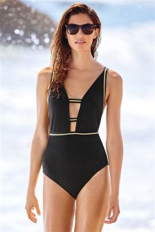 Black Gold Trim Plunge Swimsuit