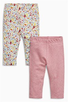 Red Stripe And Print Leggings Two Pack (0mths-2yrs)