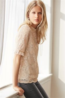 Blush Metallic Lace Top