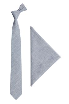 Blue Chambray Tie And Pocket Square Set