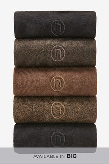 Brown/Black N Embroidered Socks Five Pack