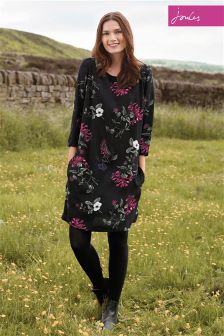 Joules Ambion Black Hedgerow Round Neck Dress