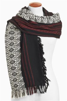Black Tribal Jacquard Scarf