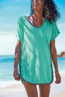 Aqua Crochet Trim Cover Up