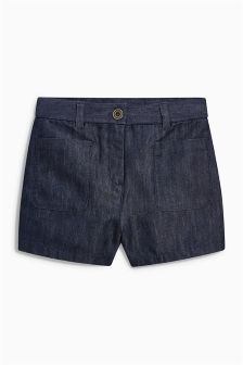 Denim Inky Blue Shorts With Headband (3-16yrs)
