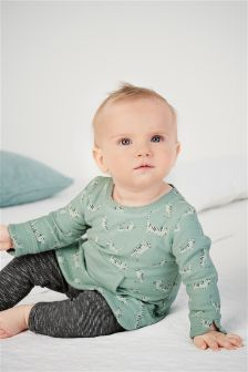 Teal Cat Print Tunic And Leggings Set (0mths-2yrs)