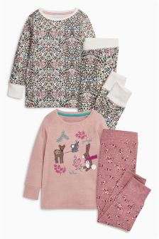 Ecru/Pink Character Appliqué Snuggle Pyjamas Two Pack (9mths-8yrs)