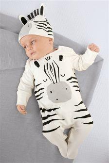 Monochrome Zebra Sleepsuit And Hat (0mths-2yrs)