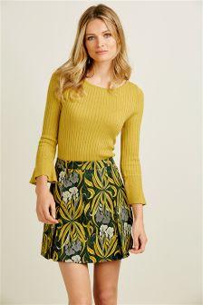 Green Floral Print A-Line Skirt