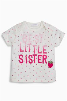 Ecru/Pink Strawberry Sister T-Shirt (0mths-2yrs)
