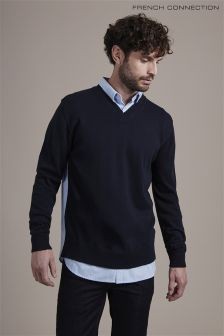 French Connection Navy Jumper Shirt Hybrid