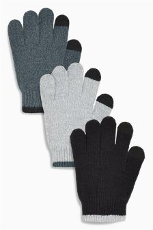 Black/Grey Touch Screen Gloves Three Pack (Older Boys)