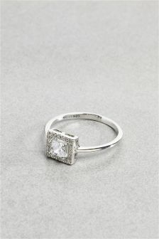 Sterling Silver Crystal Effect Cushion Ring