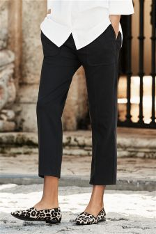 Black Pocket Detail Crop Trousers