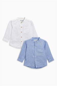 Blue/White Long Sleeve Linen Blend Shirts Two Pack (3mths-6yrs)