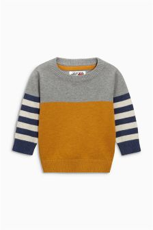 Yellow/Navy Stripe Crew Neck Jumper (3mths-6yrs)