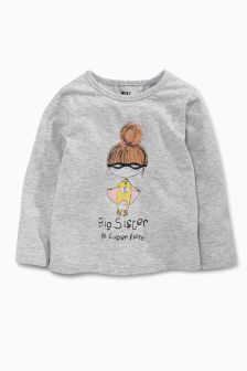 Grey Big Sister Superhero T-Shirt (9mths-6yrs)