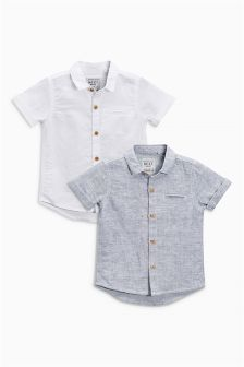 Grey/White Linen Mix Shirts Two Pack (3mths-6yrs)