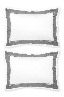 Set Of 2 250 Thread Count Cotton Woven Herringbone Oxford Pillowcases