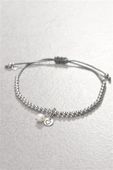 Sterling Silver Charm Detail Beady Pully Bracelet