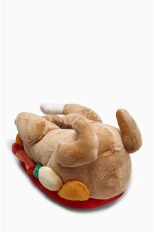 Multi 3D Turkey Dinner Slippers (Older Boys)