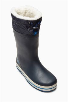 Navy Cuff Rubber Wellies (Older Boys)