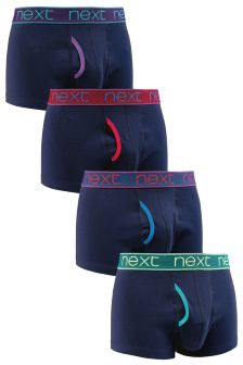 Navy Bright Waistband Hipsters Four Pack