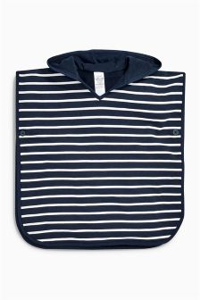 Navy Stripe Towelling Poncho (9mths-10yrs)