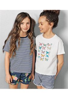 Blue/White Butterfly Short Pyjamas Two Pack (3-16yrs)